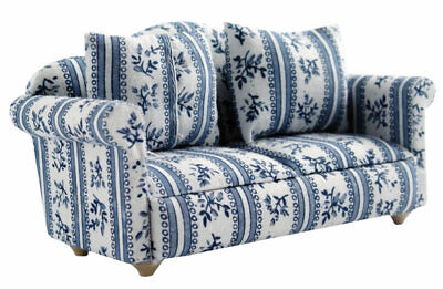 1/12 Streets Ahead Dolls House Patterned Blue Sofa/Settee DF890 • 9.99£