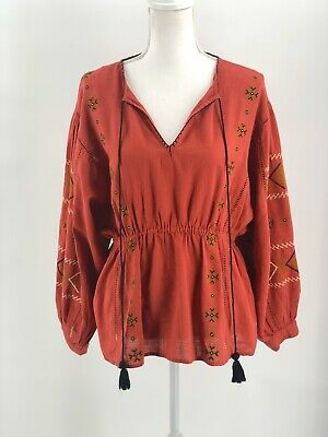 $34 • Buy Zara TRF NWT Boho Inspired Embroidered Balloon Sleeve Tassle Top Size Large