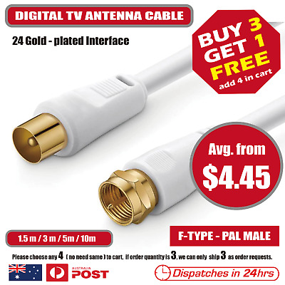AU2.95 • Buy TV Antenna Extension Cable F-Type To PAL Male Aerial Flylead Cord 1.5m 3m 5m 10m