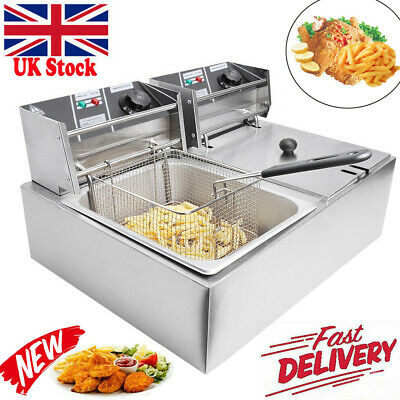 £98.98 • Buy 20L Commercial Electric Deep Fryer Fat Chip Twin Dual Tank Stainless Steel 5000W