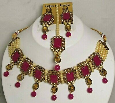 $12.99 • Buy Indian Ethnic Bridal Choker Kundan Bollywood Fashion Pearl Necklace Jewelry Set