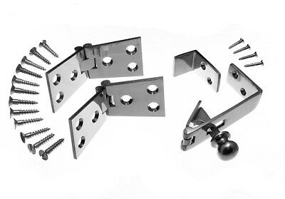 Pair Chrome Counter Flap Hinges 1 1/4 Inch X 4 Inch & Counter Catch + Fixings • 16.28£