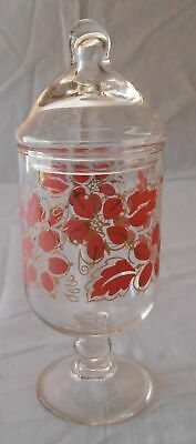 Clear Glass Apothecary Dresser Buffet Jar Candy Dish Painted Flowers  8 1/2  • 9.89£