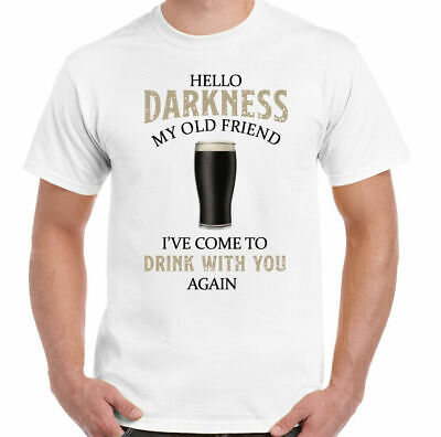 £7.99 • Buy GUINESS T-SHIRT Mens Hello Darkness My Old Friend Beer Alcohol Drunk Tee Top BBQ