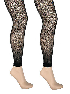 Diamond Patterned Fishnet Footless Tights Black S/M - M/L • 4.50£