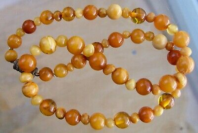 WONDERFUL, VINTAGE REAL BUTTERSCOTCH AMBER GRADUATED BEAD NECKLACE 15g • 69£
