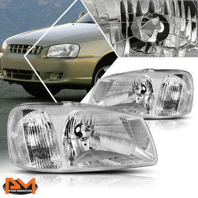 $63.89 • Buy For 00-02 Hyundai Accent Chrome Housing Clear Corner Headlight Replacement Pair