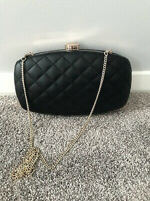 AU21 • Buy Forever New Women's Quilted Black Faux Leather Shoulder Bag Or Clutch With Gold