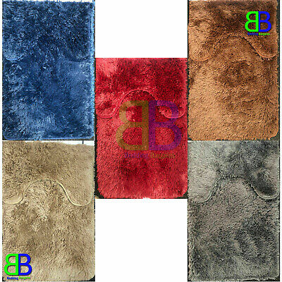 2pc Luxury Bathroom Plush Shaggy Bath Mat Set Pedestal Non Slip Soft Rugs Mats • 7.99£