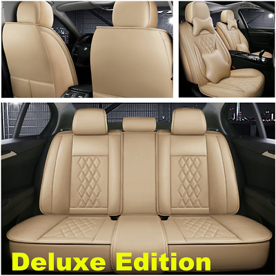 $ CDN179.37 • Buy Deluxe 5-Seats Car Accessories Full Surround PU Leather Auto Seat Cover Cushion
