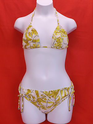 $159.95 • Buy Nwt Gucci Yellow White Floral Flowers Halter Bikini Tie Side Swimsuit Xs Italy