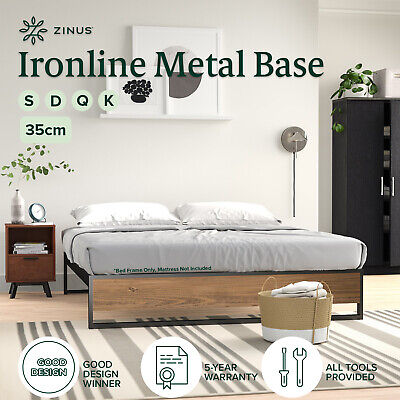 AU169 • Buy Zinus Industrial Metal Wood Bed Frame Single Double Queen King Base Mattress