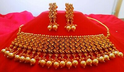 $12.99 • Buy Indian Bridal Choker Kundan Bollywood Fashion Pearl Necklace Jewelry Set