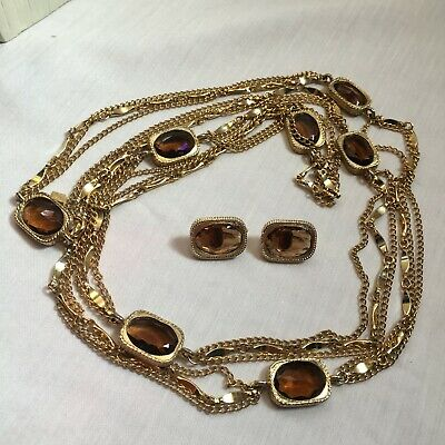$25 • Buy *Sarah Coventry* Golden Embers  Brown Rhinestone & Chain Necklace & Earrings Set