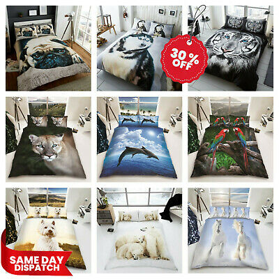 3D Animal Duvet Cover Set Single Double King Pug Dog Cat Wolf Tiger Dolphin • 18.49£