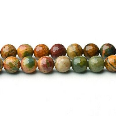 £6.79 • Buy Multicolour Picasso Jasper Beads Faceted Round 6mm Strand Of 60+