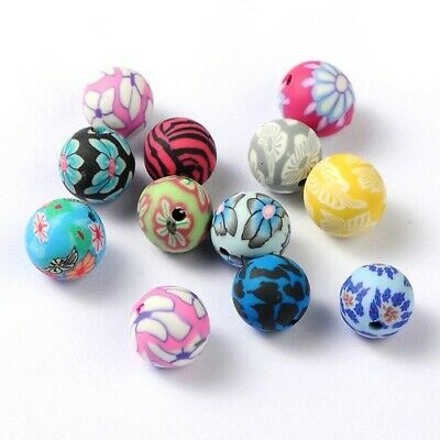 Polymer Clay Round Beads 10mm Mixed 20 Pcs Art Hobby DIY Jewellery Making Crafts • 2.59£