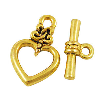 £2.79 • Buy Metal Alloy Clasps & Toggles Antique Gold Heart 13 X 20mm Pack Of 10