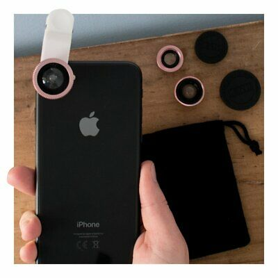 £6.99 • Buy Clip On Lens Kit Macro Wide Angle Fish Eye For IPhone Samsung Smartphone GOLD