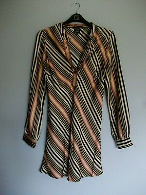 Topshop Kate Moss Silk Multicoloured Stripe Tunic Shirt Dress - Size 12 Fits 10 • 39.99£