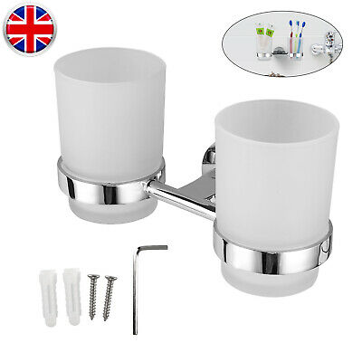 2pcs Chrome Tumbler With Toothbrush Holder Bathroom Accessory Wall Mounted Tool • 10.33£