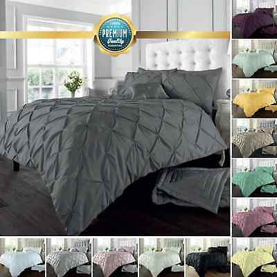 Pintuck Pleated Alford Duvet Cover Set Bedding With Pillowcase All Sizes Colours • 13.99£