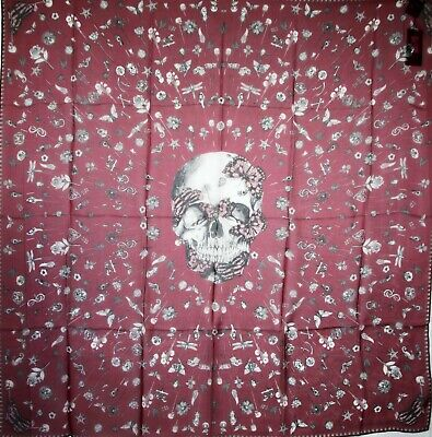 AU267.04 • Buy Alexander McQueen Lacquer/Ivory Skull Silk Shawl With Heirloom Pins 529935 6278