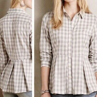 $ CDN42.36 • Buy Anthropologie 11-1-TYLHO S Gray Gingham Plaid Peplum Top Shirt Blouse Small