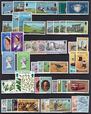 GUERNSEY COLLECTION 1970s/80s COMMEMORATIVES 37 SETS NEVER HINGED MINT • 2.24£