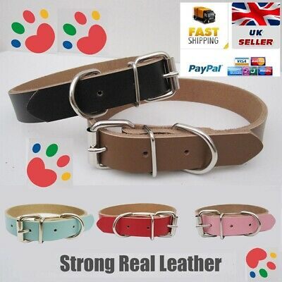 Strong Real Leather Dog Collar | Pet Cat Puppy | Six Colours | Five Sizes • 3.40£