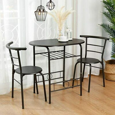 $79.99 • Buy 3 Piece Metal Dining Table Set 2 Chairs Kitchen Breakfast Dining Room Furniture