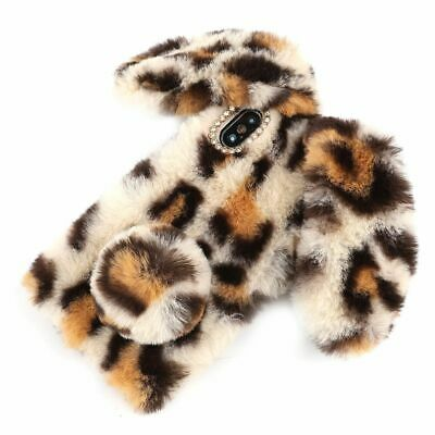 Leopard Fur Bunny Ears Phone Case Soft Silicone Plush Cover For IPhone 11 XR XS • 7.60£