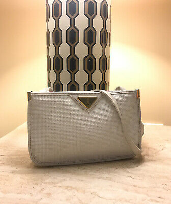 AU399 • Buy Vintage AUTHENTIC YSL White And Gold Pvc Plastic Printed Crossbody Bag