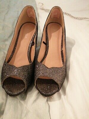 Pewter Sparkly Peep Toe Shoes 6 • 3.49£