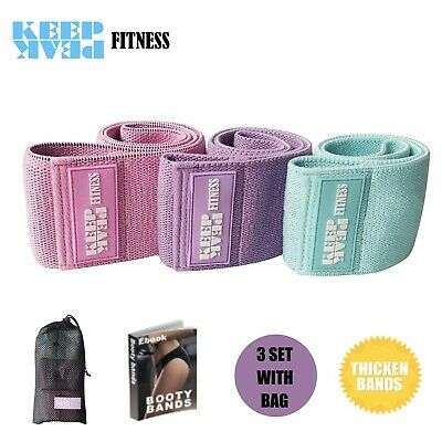 AU49.99 • Buy KEEPPEAK 3Hip Resistance Booty Bands Fabric Exercise Loop Band Strength Training