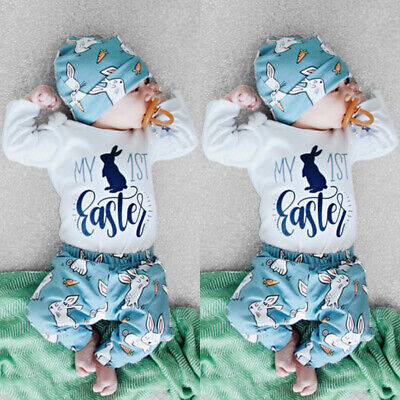 2020 My 1st Easter Newborn Baby Boy Girl Romper+Pants+Hat 3Pcs Outfit Clothes UK • 6.35£