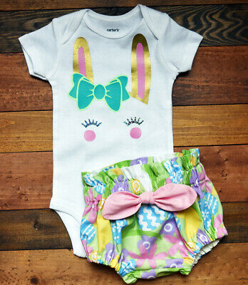 Easter Newborn Baby Girl Summer Outfit Clothes Tops Romper+Tutu Shorts Pants Set • 4.95£