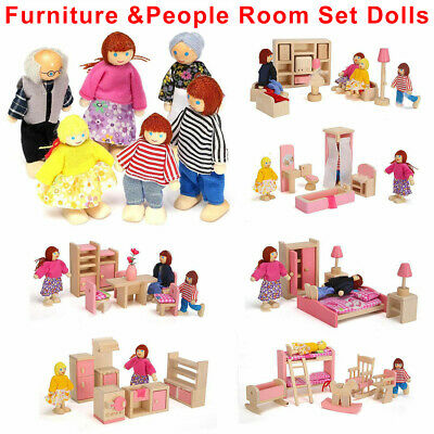 Dolls House Furniture Wooden Set Miniature 6 Room People Doll Toys Kids Children • 7.99£