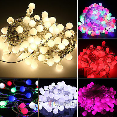 Electric Plug-in 100LED Festoon Globe Bulb Ball Lamp String Lights Decor Xmas • 12.45£