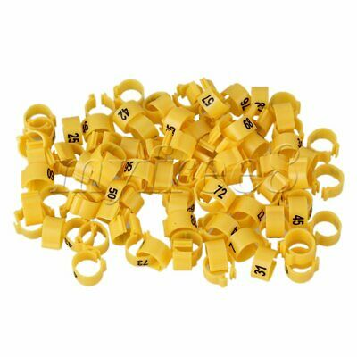 100pcs Yellow Poultry Leg Bands Bird Pigeon Duck Rings Clip 1-100 Numbered 9.5mm • 10.51£