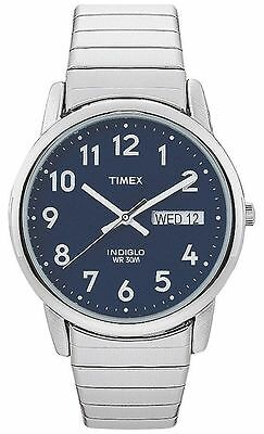 Timex T20031, Easy Reader, Men's, Silvertone Expansion, Indiglo, Day/Date • 29.39£