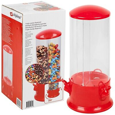 Candy Dispenser Sweet Jar Nuts Cereal Triple Compartment Rotating Kids Children • 10.95£