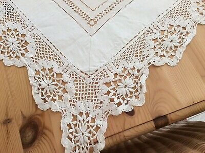 Antique Linen Tablecloth/Bed Cover Figural Inserts Emb & French Cluny Lace C1900 • 69.99£