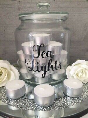 Tea Lights Wax Melts Candle Sticker Label/ Decal For Storage Jar Tray   • 1.95£