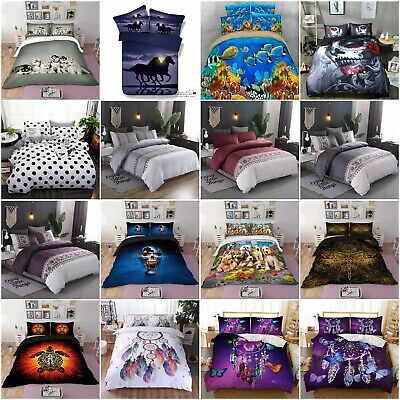 AU40.88 • Buy Animal Quilt Doona Duvet Cover Set Single Double Queen King Size Bed Pillowcases