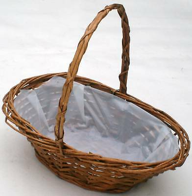 OVAL WICKER BASKET IDEAL FOR EGG HUNT-  Small- 20cm (8 ) • 5.99£