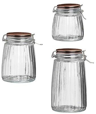 Air Tight Glass Dry Food Storage Preserve Jar With Clip Top Copper Finish Lid • 12.49£
