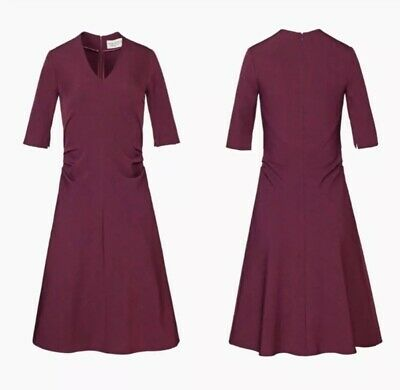 $ CDN120.82 • Buy Rare MM Lafleur Caroline Claret Maroon Gathered Dress Sz 4