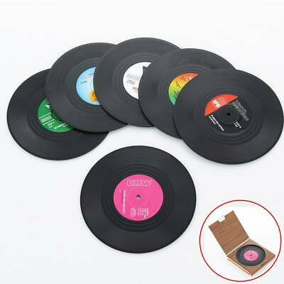 6 Pcs Vinyl Style Drinks Coasters Place Mats Set Retro Vintage Record Discs • 3.49£