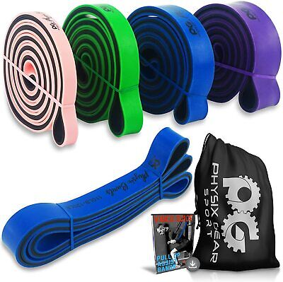 AU42.95 • Buy Physix Gear Pull Up Assist Bands - Best Heavy Duty Resistance Bands PURPLE HEAVY